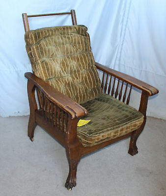 Antique Oak Morris Chair – claw feet