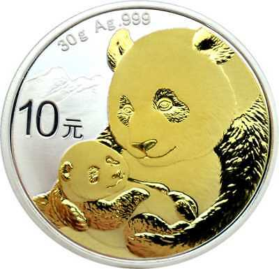 10 Yuan Argenté 10 Yuan Chine Panda 2019 avec Application D'or Gilded Neuf