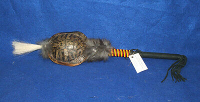 "Large 20"" long Turtle Shell Rattle w Horse Hair & Bead Wrap Native American WF20"