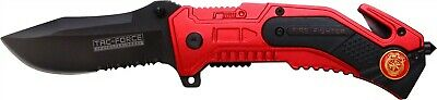 Tac-Force Red Firefighter Assisted Serrated Rescue Cutter Glassbreaker Knife