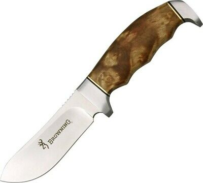 Browning 526 Burlwood Finger Groove Skinner Fixed Hunting Knife + Sheath