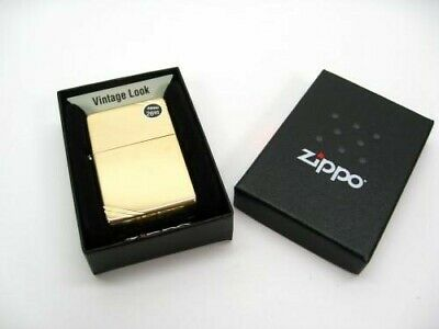 Zippo Full Size Vintage High Polish Brass w/ Slashes Windproof Lighter 270
