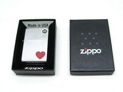Zippo 29060 Full Size Satin Chrome Finish Red Heart Classic Windproof Lighter