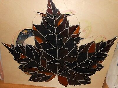 """Large Stained Glass Maple Leaf 29""""x26"""""""