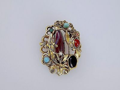 Vintage Dragons Breath Brooch Opal Glass Cabs Pin Gardenesque Floral Brooch