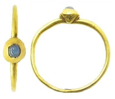 Wonderful 13th century Medieval Gold & Sapphire Finger Ring Size 7 3/4 RARE