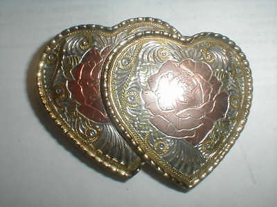 COWGIRL COUTURE! tri PINK YELLOW WHITE GOLD ROSE SOUTHWEST HEART BELT BUCKLE