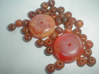 VINTAGE AMBER BEAD LOT from broken necklace 26MM & 5mm