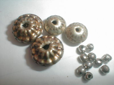 VINTAGE SOUTHWEST SILVER GOLDEN BEAD LOT from broken necklace VERY OLD