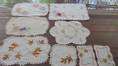 Vintage Lot of 9 hand Embroidered Crochet edged Doilies beautiful