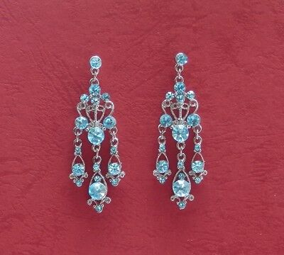 Vintage Chandelier Earrings with Aquamarine Australia Crystals E2100A