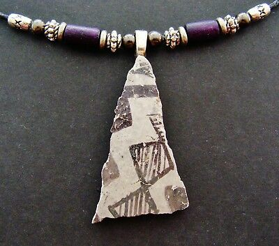 Authentic Old ANASAZI POTTERY SHARD PENDANT NECKLACE Jewelry-Interesting pattern