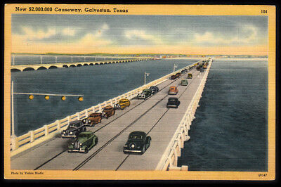Vintage Galveston, Texas Causeway Linen Postcard with Old Cars