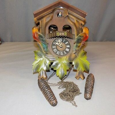 German Black Forest Cuckoo Clock for parts or restoration Musical with dancers