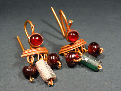 2 Ancient Gold Garnet & Glass Earrings Provenance Christie's Roman 100-300 Ad