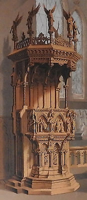 Pulpit Carved Oak Goyers Belgium Chromo Cosack Centennial 1876 Exhibition Phila