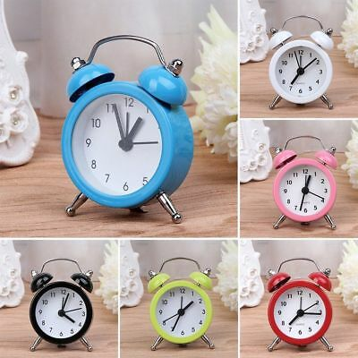 Classic Double Bell Mini Round Alarm Clock Table Bedside Home Office Decor UK