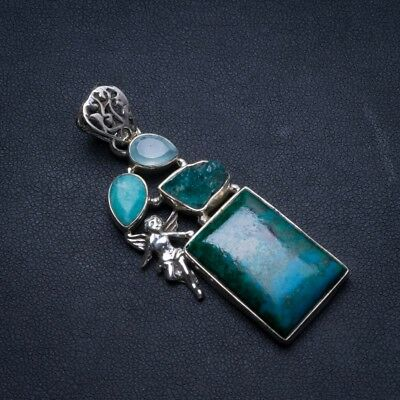 "Turquoise,Crystal,Amazonite Chalcedony 925 Sterling Silver Pendant 2 1/4"" U0347"