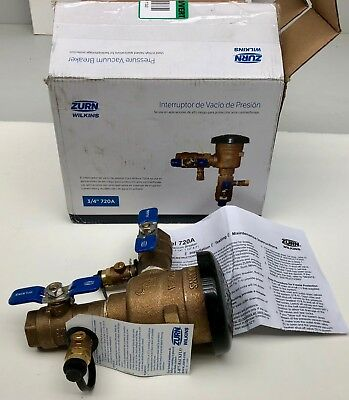 "x1 New Zurn Wilkins 3/4"" 720A Pressure Vacuum Breaker Assembly Free Shipping"