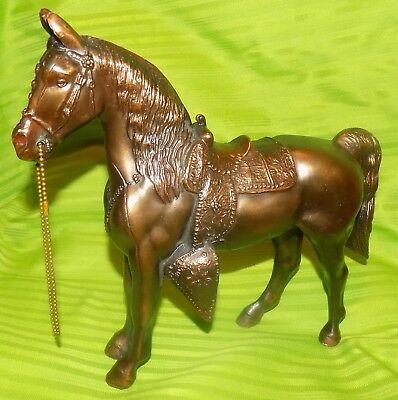 """Vintage Metal Bronze Copper Color Horse with Saddle Halter 10.25"""" tall 12"""" long"""