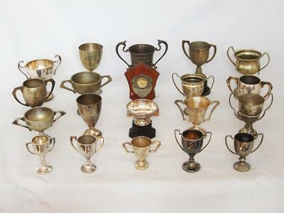 A SUPERB COLLECTION OF VINTAGE SILVER PLATED TROPHY CUPS inc york school 1924