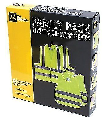 AA. Family High Visibility Vest Pack - 2 Adults , 2 Children. (Breakdown Safety)