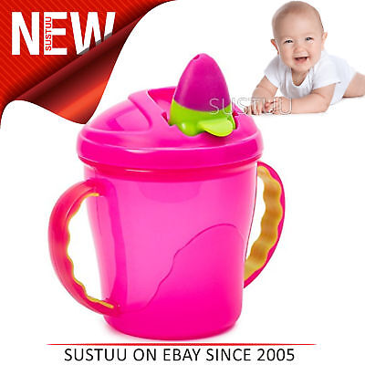 Vital Baby Free Flow Cup with Soft Flip Spout│Kid's Anti-Spill Travel Mug│Pink