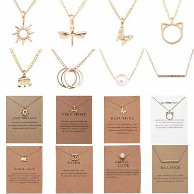 Women Fashion Simple Christmas Pendant Necklace Animal Charm Jewelry Gift Card