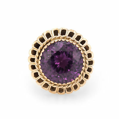Vintage Synthetic Alexandrite Ring Large Round Cocktail 10k Yellow Gold Estate