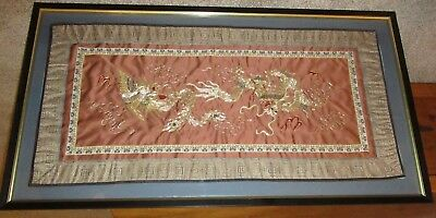 Large Framed Vintage Chinese Dragon Silk Embroidery Panel Needlework