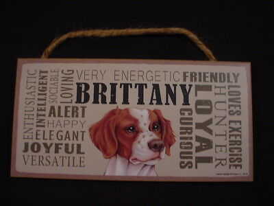 BRITTANY Subway Style DOG SIGN wood WALL HANGING PLAQUE Spaniel puppy USA MADE