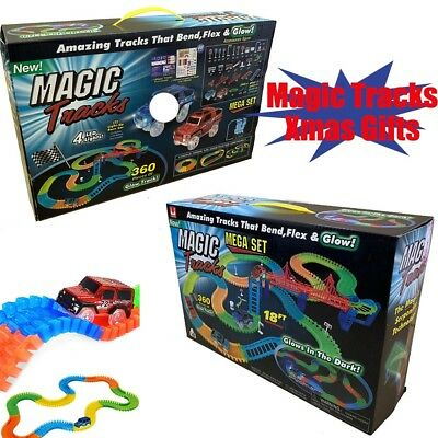 Magic Tracks 18 ft 360 Pcs Mega Set Glow In The Dark Toys 2 LED Cars Kid Gift US
