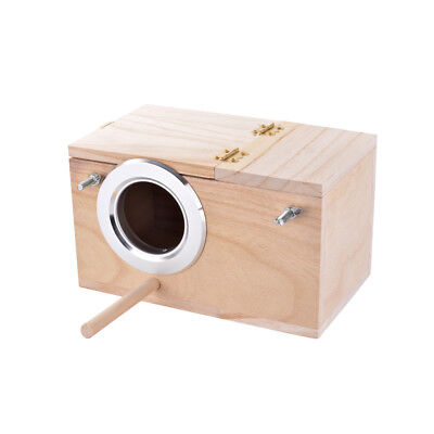 Small Parakeet Nest Wooden Box Breeding Bird Cage With Stick Budgie House PS302