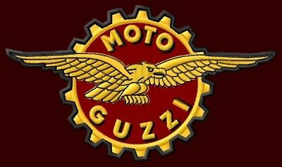 """MOTO GUZZI EAGLE EMBROIDERED PATCH ~4-3/4"""" x 2-5/8"""" MOTORCYCLE CENTAURO LE MANS"""