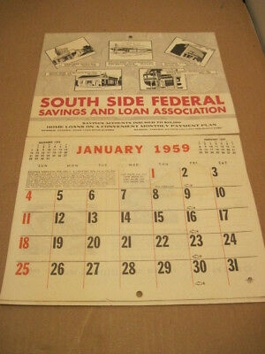 Old Paper 1959 Calendar Recipes South Side Federal Bank Advertising