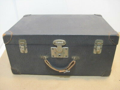 Old Vintage Black Excelsior Antique Travel Bag Train Case Luggage Chest