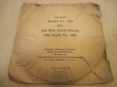 Old Vintage Big Ben Loud Alarm Clock Glass Cover Replacement Clock Part # 48-D