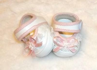 """Doll Shoes Tiny Pink & White Baby Shoes Available In 2 Sizes 1 3/4"""" And  2 1/4"""""""