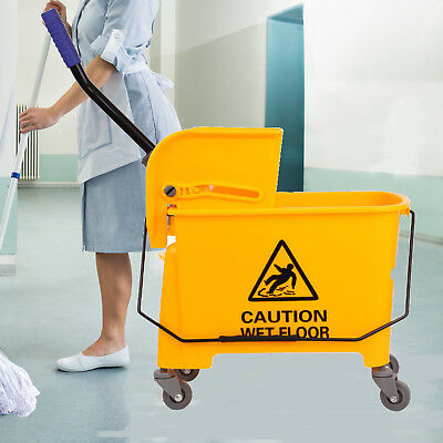 Yellow Commercial 20L Wet Mop Bucket & Removable Wringer Combo Yellow Side Press