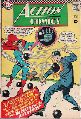 ACTION COMICS #341 SUPERMAN (1966) DC Comics BATMAN appearance VG-FINE
