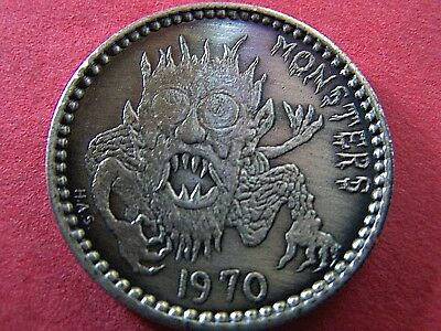 1970 Infant Mystics (HAS) MONSTERS Oxidized Silver Hi-Relief Mardi Gras Doubloon
