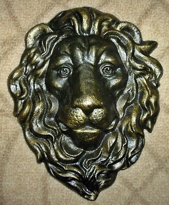 MAJESTIC CAST IRON LION HEAD WALL SCULPTURE ~ Antiqued Gold ~