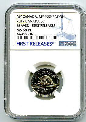 2017 Canada 5 Cent Nickel Ngc Ms68 Pl Beaver My Inspiration First Releases Top=4