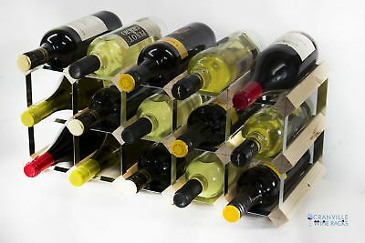 Cranville wine rack storage 15 bottle pine wood and metal wine rack self build