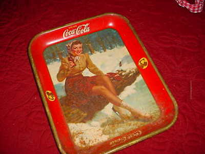 Authentic 1941 Ice Skater Girl Coke Coca-Cola Advertising Serving Metal Tray