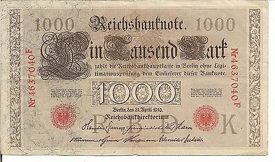 GERMANY , 1000 MARK, Red s/n & Seal, P#44b,  1910