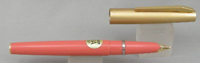 Pilot 3A Coral w/ Satin Gold Cap Fountain Pen - Mint New-Old-Stock - 1970's