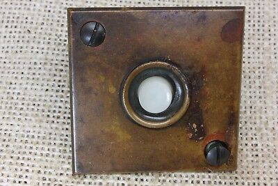 square Door Bell Button old cast brass weathered tarnished bronze vintage