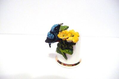 Thimble Sterling Classic Handpainted  Pewter Blue & Black Bird W/yellow Flowers