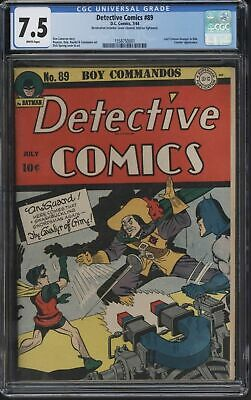 Detective Comics #89 From 1944 Stunning Tight Spine Bright Colours Cgc 7.5